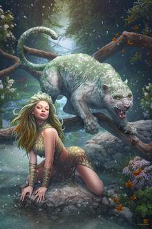 Фото Леди Весна на коленках на земле и грозное животное на дереве, by kerembeyit