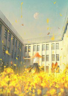 Фото Школьница стоит во дворе школы, by Tamaki