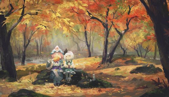 Фото Yuyuko Saigyouji / Ююко Сайгедзи, Konpaku Youmu и дух Myon отдыхют в осеннем лесу из серии игр Проект Восток / Touhou Project, art by Seeker