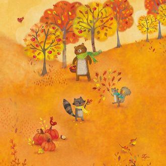 Фото Осень, медведь, енот и белка собирают ягоды на поле by lynn gaines