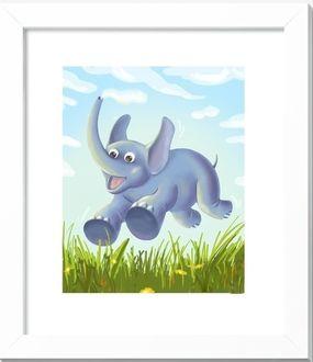 Фото Картина прыгающего слона над травой