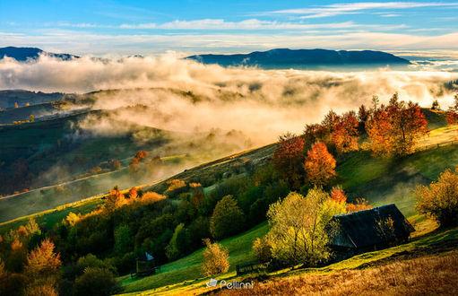 Фото Горная сельская местность в туманное осеннее утро, фотограф Mike Pellinni