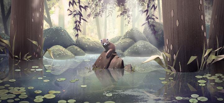 Фото Панда сидит на камне в окружении воды, by Janice Sung
