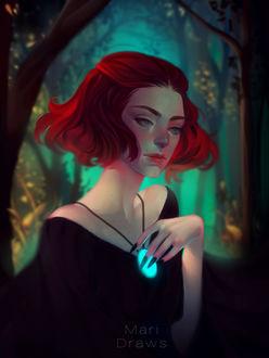 Фото Девушка с яркими волосами и ожерельем на шее, by cosmogirll