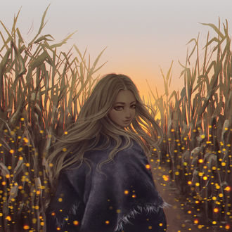 Фото Длинноволосая девушка на кукурузном поле в окружении светлячков, by Dzydar