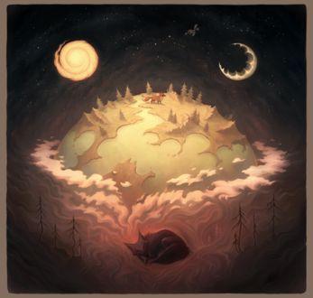 Фото Работа Dream / мечта- спящая лиса над которой одновременно и луна и солнце, by MoaWallin