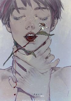 Фото Парень с цветком, проходящим сквозь язык, обхватил шею руками, by Dark134