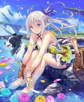 Фото Девушка-эльф сидит рядом с собакой, поставив ноги в воду