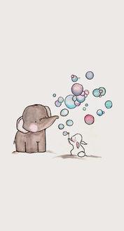 Фото Слоненок и зайчик пускают в небо мыльные пузыри