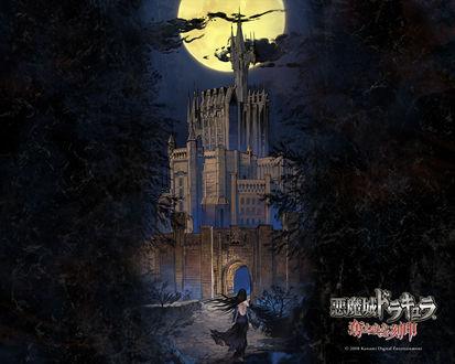 Фото Shanoa идет к замку в ночь полнолуния из игры Castlevania, art by Ayami Kojima