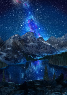 Фото Звездное небо над горами перед озером