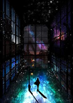 Фото Силуэт девушки, стоящей у городского фонаря