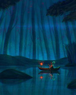 Фото Человек в лодке на озере, by AngelGanev
