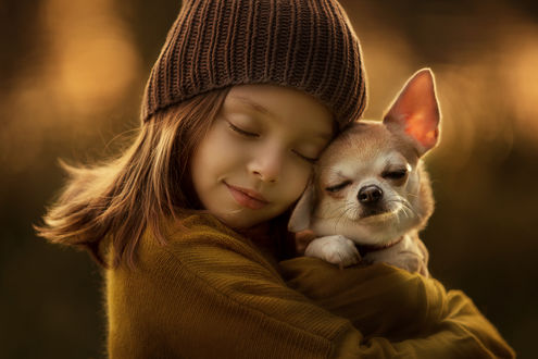 Фото Девочка обнимает своего щенка. Фотограф Ахтямова Рашида