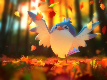 Фото Птенец под осенней падающей листвой