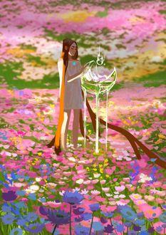 Фото Девушка стоит на поляне красочных цветов с большой каплей воды, by Amei Zhao