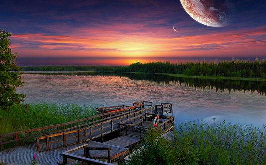 Фото Причал у реки на фоне розового заката. Фотограф Lapland