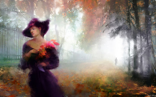 Фото Девушка в шляпе с букетом цветов стоит на фоне осеннего пейзажа с уходящим мужчиной, фотограф Igori Zenin,