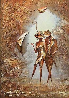 Фото Парень и девушка с зонтом стоят у лавочки