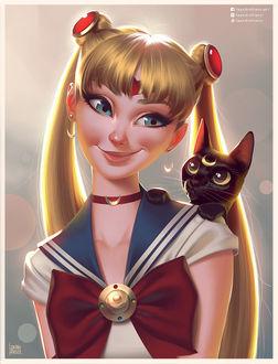 Фото Усаги Цукино / Usagi Tsukino и кошка Луна / Luna из аниме Сейлор Мун / Sailor Moon, by lenadrofranci