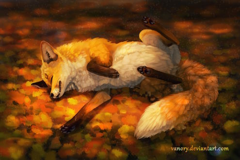 Фото Лиса лежит на осенних листьях, by Vanory