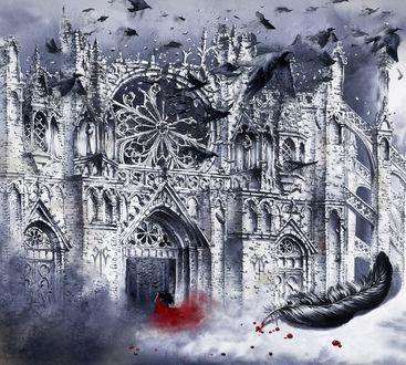 Фото Девушка в красном платье перед замком, над которым летают вороны, by GrimDreamArt