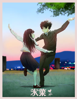 Фото Эру Читанда / Eru Chitanda и Хотаро Орэки / Houtarou Oreki из аниме Хека / Hyouka, by SteamyTomato