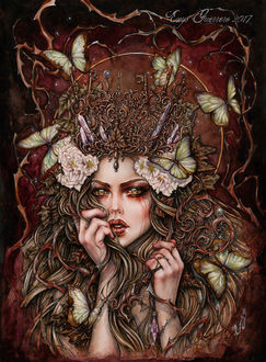 Фото Работа The Forest Keeper / Лесной хранитель-девушка с ключами на голове и бабочками, by EnysGuerrero