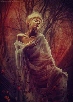 Фото Девушка-блондинка на фоне осенних деревьев, by Peter Brownz Braunschmid