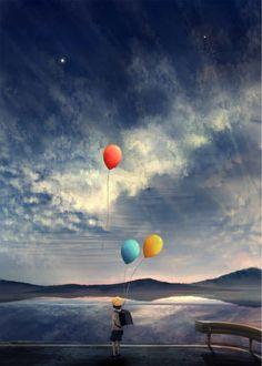 Фото Школьник с воздушными шариками любуется пейзажем, by soda