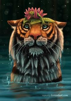 Фото Тигр с лилией и лягушкой на голове стоит в воде, by vanory
