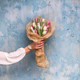 Фото Девушка держит букет разноцветных тюльпанов на фоне голубой стены