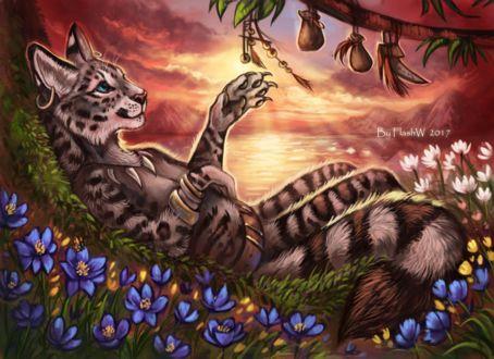 Фото Кот лежит на поляне с цветами под веткой дерева с мешочками, by FlashW