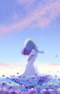 Фото Девушка с букетом цветов стоит в воде с цветами, by lluluchwan