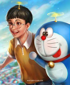 Фото Нобита Ноби / Nobita Nobi и Дораэмон / Doraemon из аниме Дораэмо / Doraemon, by artsbycarlos