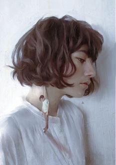 Фото У девушки вместо сережки парень, турецкий художник Aykut Айдогду