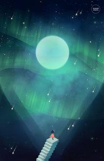 Фото Девочка стоит на ступеньках, на фоне неба с полной луной, by sugarmints