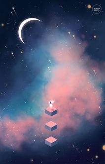 Фото Девочка стоит на фоне неба с луной, by sugarmints