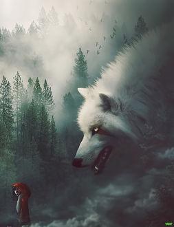 Фото Огромный белый волк и девушка в красном плаще, by naradjou14