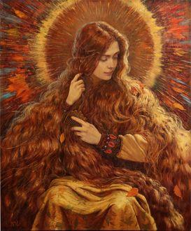 Фото Девушка - осень с длинными волосами, by Vladimir-Kireev o