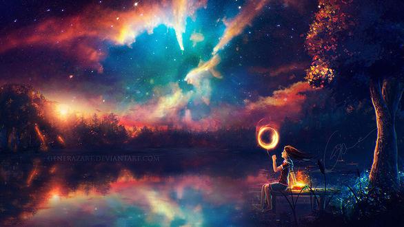 Фото Девочка с воздушным шариком сидит на мостике, гле лежит волшебная книга, вy GeneRazART