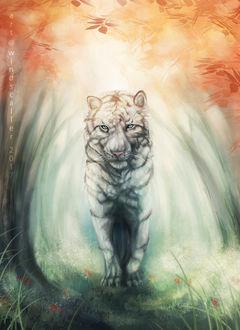 Фото Белый тигр с голубыми глазами стоит на тропинке среди деревьев, by Windscaller