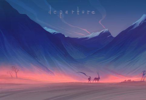 Фото Девочка с животным идут по пустыне на фоне гор, by loish