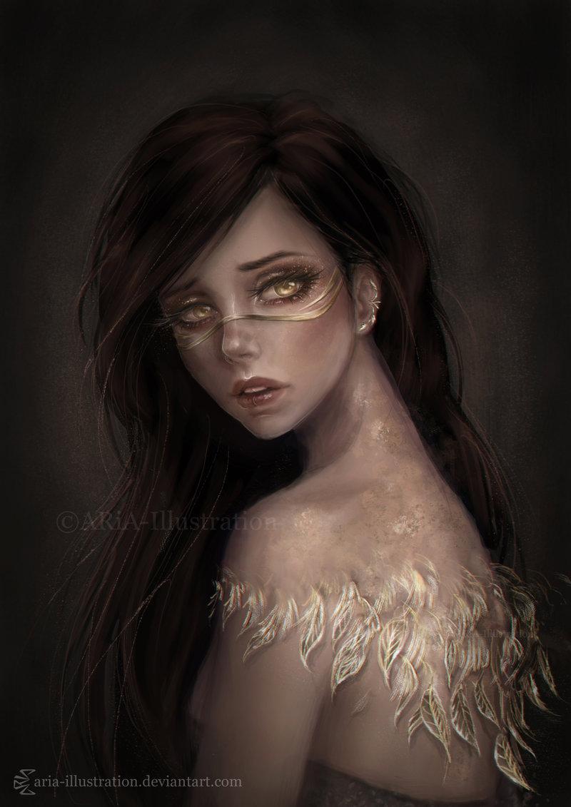 Фото Девушка с листьями на теле, by ARiA-Illustration