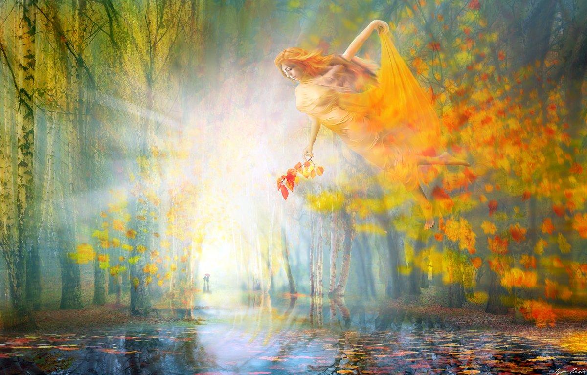 Фото Девушка - осень над водой, фотохудожник Игорь Зенин