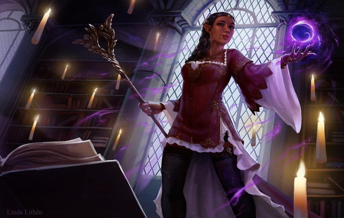 Фото Девушка маг с посохом и магической сферой в руке стоит в библиотеке, by Darantha