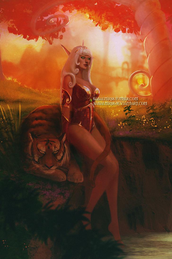 Фото Кровавая эльфийка сидит рядом с тигром / арт на игру World of Warcraft, by Sabalmirss