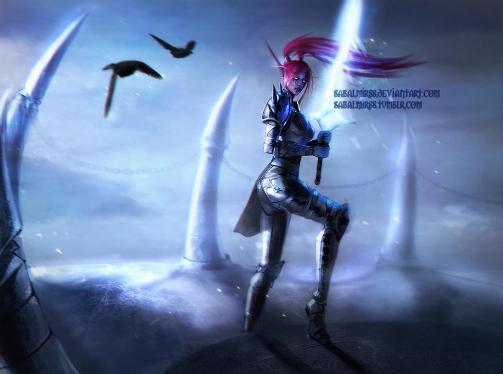 Фото Ночная эльфийка рыцарь смерти / арт на игру World of Warcraft, by Sabalmirss