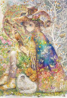 Фото Девочка с рогами держит в руках скрипку, у ее ног сидит белая кошка