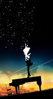 Фото Парень, стоя на рояле, целуют девушку, падающую с неба, by Harada Miyuki